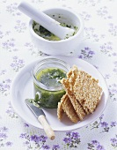 Ramsons (wild garlic) pesto with sesame crackers