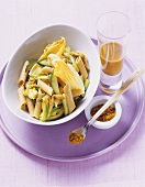 Curried pasta with courgette flowers and sea buckthorn juice
