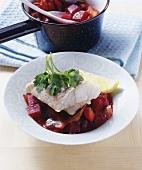 Steamed hake on borscht vegetables