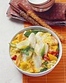Asia-Reis-Gratin mit Fischfilet