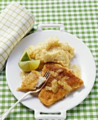 Escalope of coley with mashed potato and lime wedges