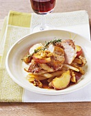 Fried pheasant breast with apples and walnuts