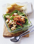 Chicken or turkey salad with spinach, capers, tomatoes & bacon