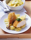 Marinietes Backhähnchen auf Kartoffelsalat