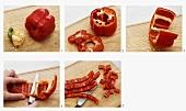 Dicing a red pepper