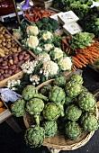 Various vegetables on vegetable stall