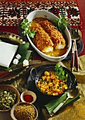 Monkfish with tomato sauce & cheese with vegetables (India)