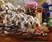String of garlic, pickled garlic and garlic salt behind
