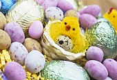 Chocolate eggs and a chick in Easter nest