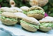 Green tea and lime macarons