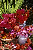Pink flowers in metal containers, chillies and tomatoes