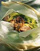 Foie gras with savoy cabbage and smoked sausage en papillote