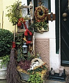 Decorations outside a house door