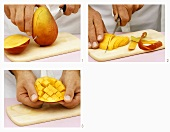Halving, slicing and cubing a mango