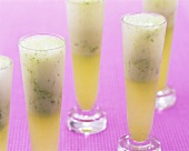 Basil and lime sorbet with Prosecco in glasses