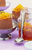 Chocolate ice cream with orange peel in syrup