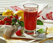 Strawberry juice with mint & mineral water (headache remedy)