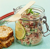 Meat, cucumber and tomato salad with lime