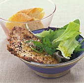 Small escalope in spicy coffee butter