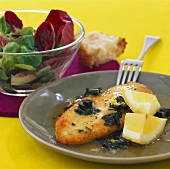 Small chicken escalope in olive butter