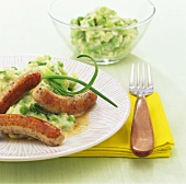 Sausages and wasabi pea mash