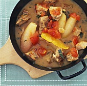 Veal stew with shallots and tomatoes