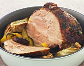 Roast pork with oranges, lemon and fennel