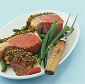 Loin of lamb with herb crust and green beans