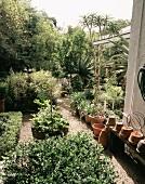 Blick in mediterran gestalteten Garten