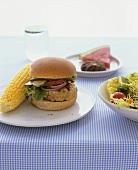 Turkey burger and corn on the cob