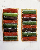 Three-coloured vegetable tarts