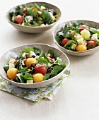 Melon, watercress & cucumber salad with olives & pine nuts