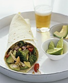 Chicken and vegetable burrito