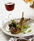 Lamb chops with mint sauce