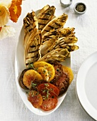 Grilled chicory with heirloom tomatoes
