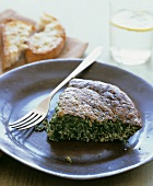 A piece of spinach cake