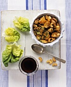 Chicken with cashew nuts and lettuce