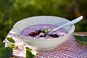 Cherry yogurt with mint