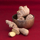 Ginger in a copper bowl and on the side