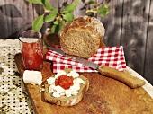 Bread wth cream cheese and tomato chutney