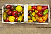 Various types of organic tomatoes in a wooden basket