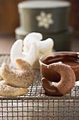 Vanillekipferln (cresent-shaped vanilla biscuits), Mokkakipferln (cresent-shaped mocca biscuits) and Schokokipferln (cresent-shaped chocolate biscuits)