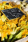 Courgette flowers at a market (Nice, France)