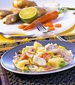 Fish ragout with pineapple