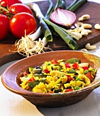 Rice dish with vegetables and cashew nuts