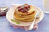 Buttermilk pancakes with cherry jam