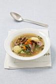 Zalewajka (Polish potato soup) with dried mushrooms