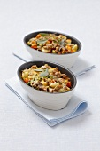 Vegetable bakes with kohlrabi, carrots, peas and sweetcorn