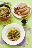Broad beans with pancetta and almonds
