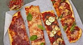 Pizza strips with various toppings